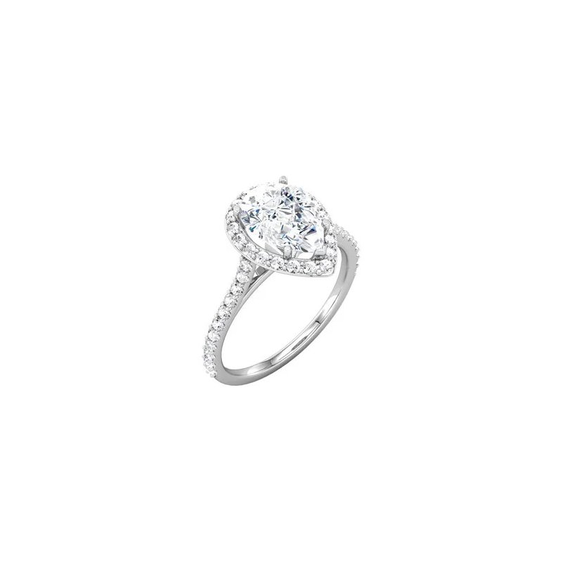 Elegant Pear Shaped Diamond set with a Halo of Round Diamonds