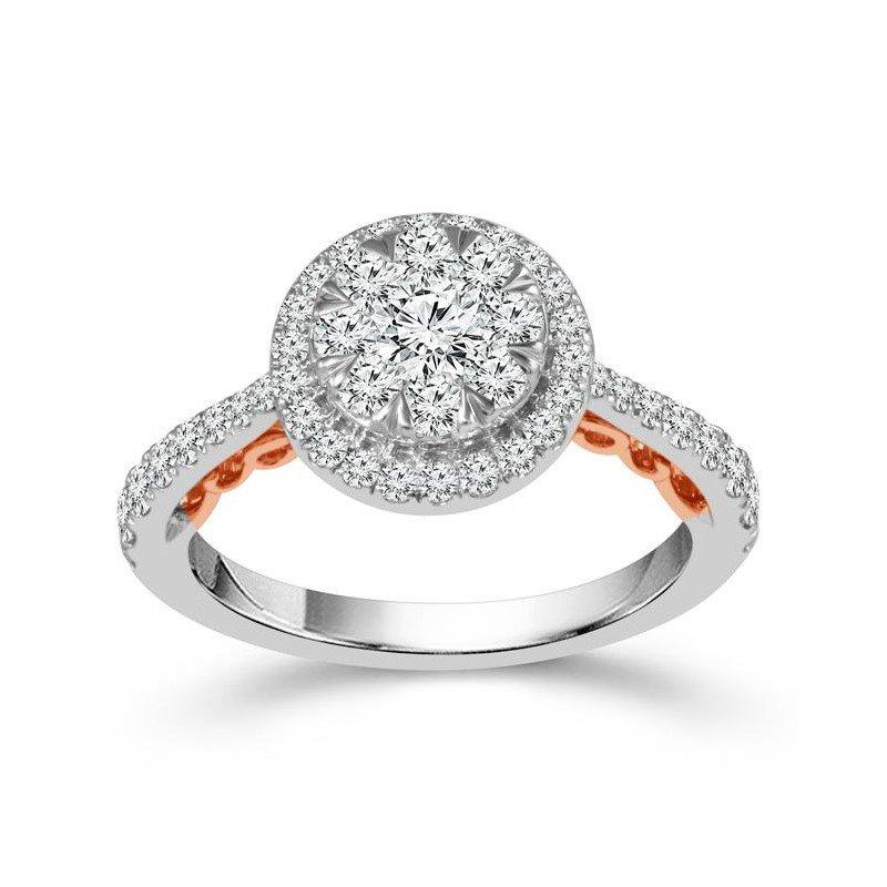 """""""Harmony"""" 14 Karat White Gold and Surprise Rose Gold Detail Diamond Ring"""