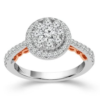 """Harmony"" 14 Karat White Gold and Surprise Rose Gold Detail Diamond Ring"