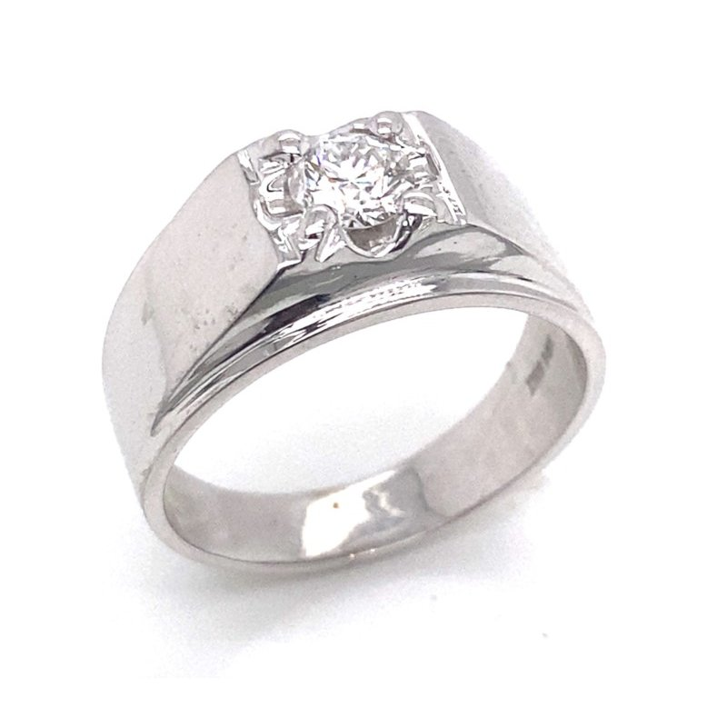 14 Karat White Gold Ring with .59 ct Center Diamond