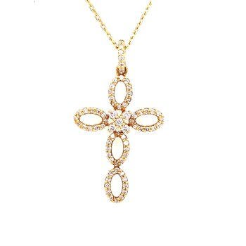 18 Karat Yellow Gold Diamond Cross Pendant