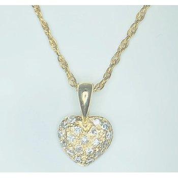 14kt Yellow Gold Pave Diamond Heart Pendant