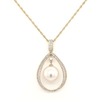 14 Karat Yellow Gold South Sea Pearl and Diamond Pendant