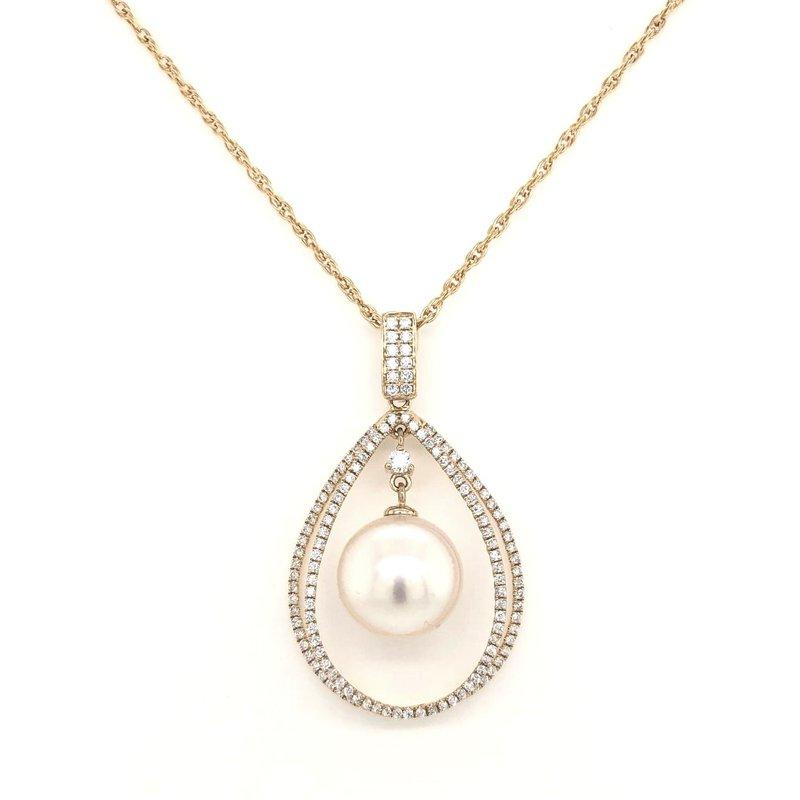 14 Karat Yellow Gold South Sea Pearl and Diamond Pendant