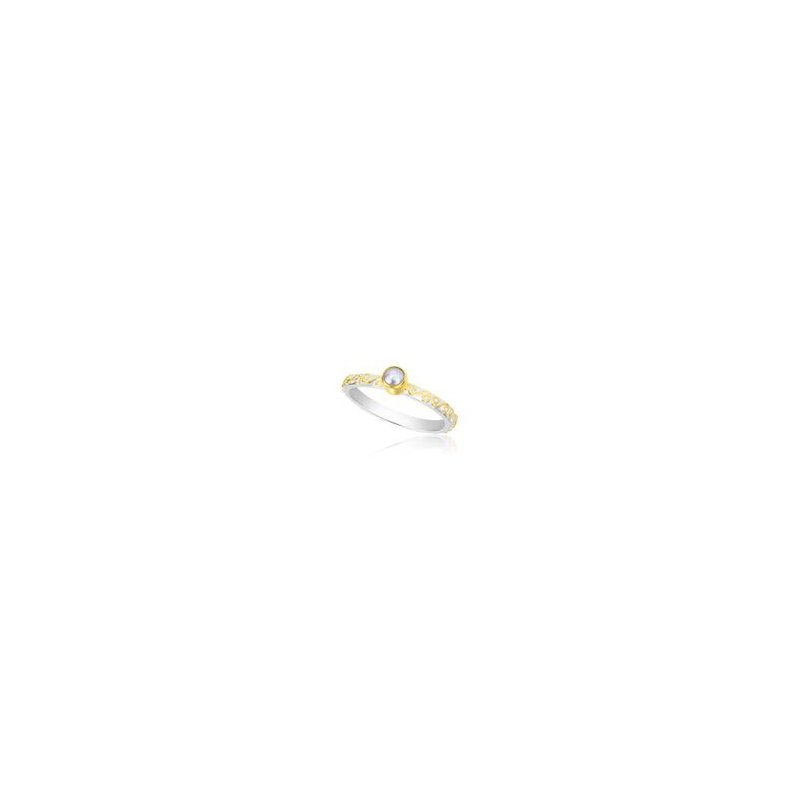 Pearl Sterling Silver and 22 kt Gold Ring