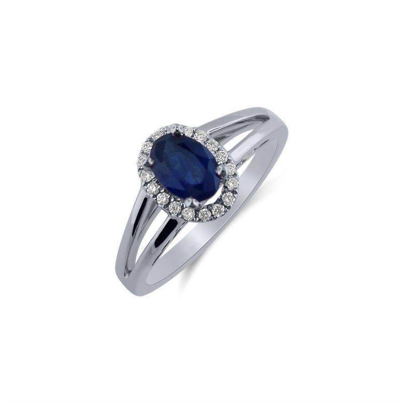 14 Karat Sapphire Ring With Diamonds