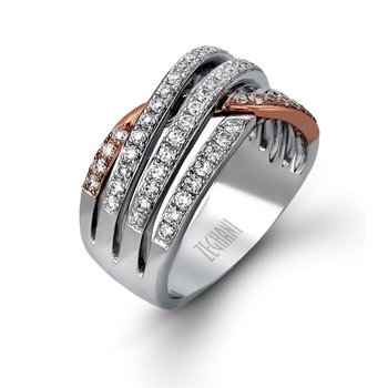 14 Kt Rose and White Gold Wide Diamond Band