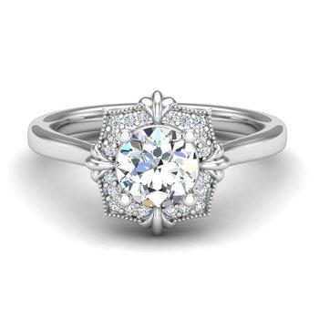 14 Karat Stylized Halo Ring Mounting of Round  Diamonds