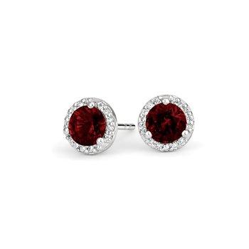 Diamond Halo earrings with Garnet