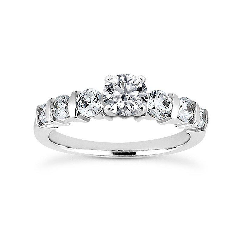 14 Karat White Gold Engagement Ring Mounting
