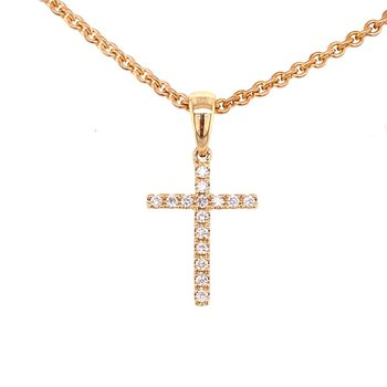 14 Karat Yellow Gold Diamond Cross Pendant
