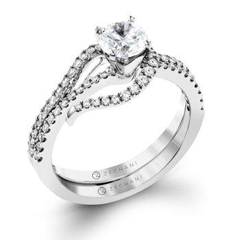 Asymmetrical Swirll Diamond Mounting