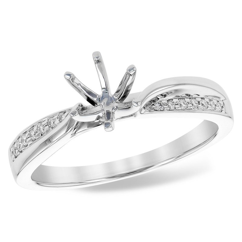 14 Karat Twist Ring Mounting with Round Diamonds