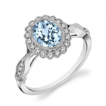 White 14 Karat Ring With One 1.26Ct Oval Aqua And 18=0.19Tw Round F/G Si1 Diamonds
