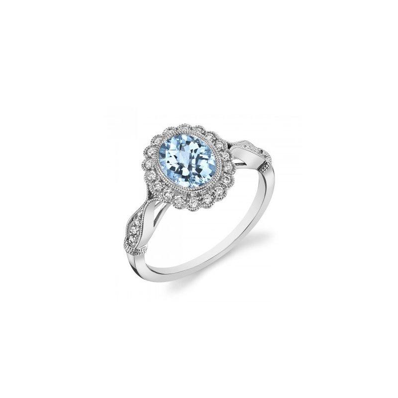 White 14 Karat Ring With One 1.26Ct Oval Aqua And 18=0.19Tw Round F/G Si1 Diamonds