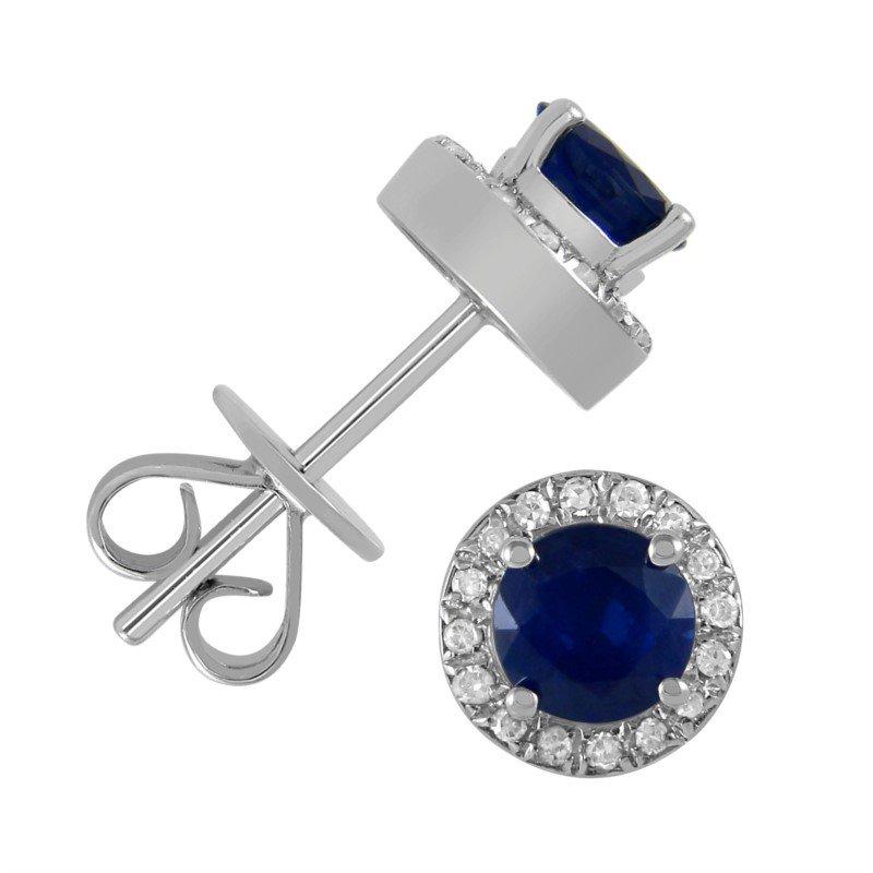 5 mm Sapphire Stud Earrings With Diamond Halo