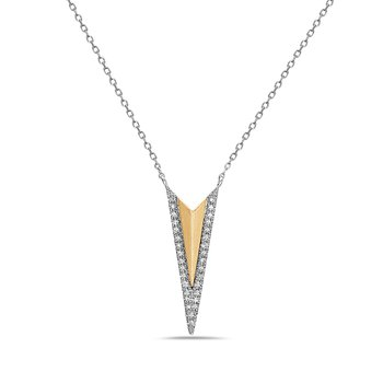 14 Karat White and Yellow Gold Chevron Diamond Pendant