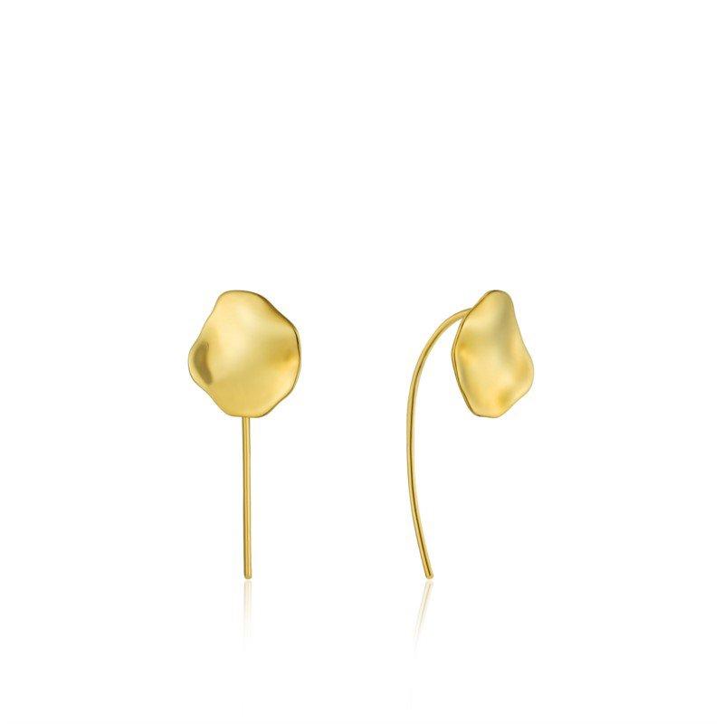 Yellow Sterling Silver Metal Crush Disc Earrings
