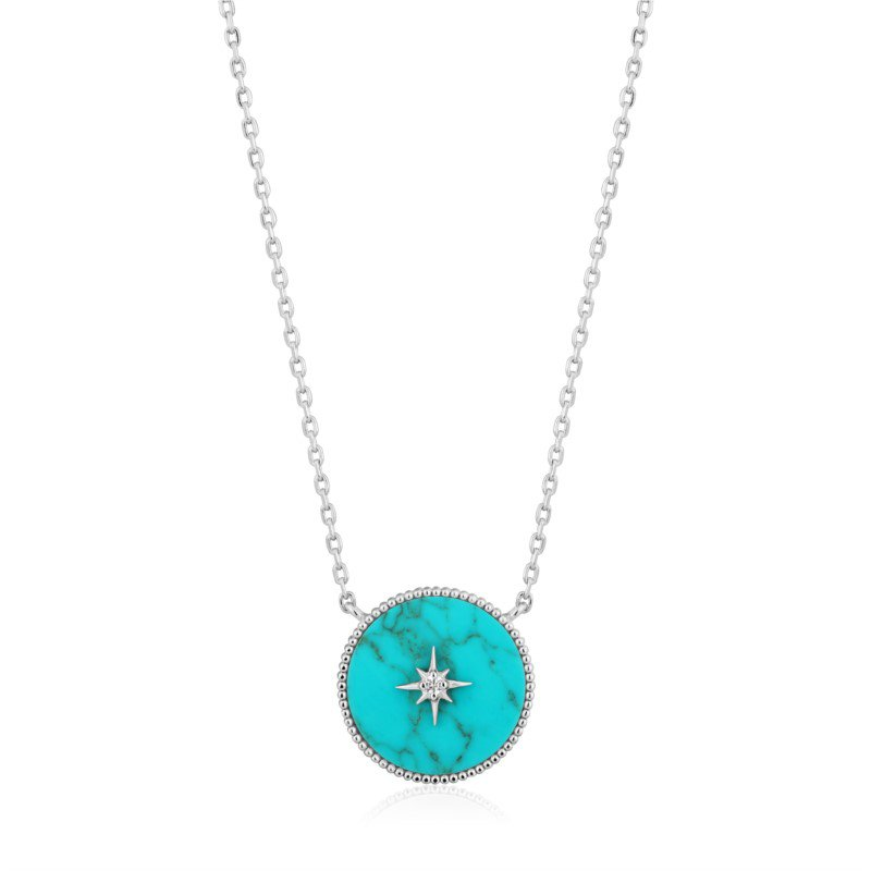 White Sterling Silver Hidden Gem Turquoise Emblem Pendant