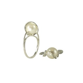 Stylish Pearl Ring with Curve of Diamonds Over Top