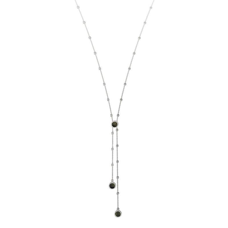 Black Sterling Silver Diamond Cut Drop Pendant
