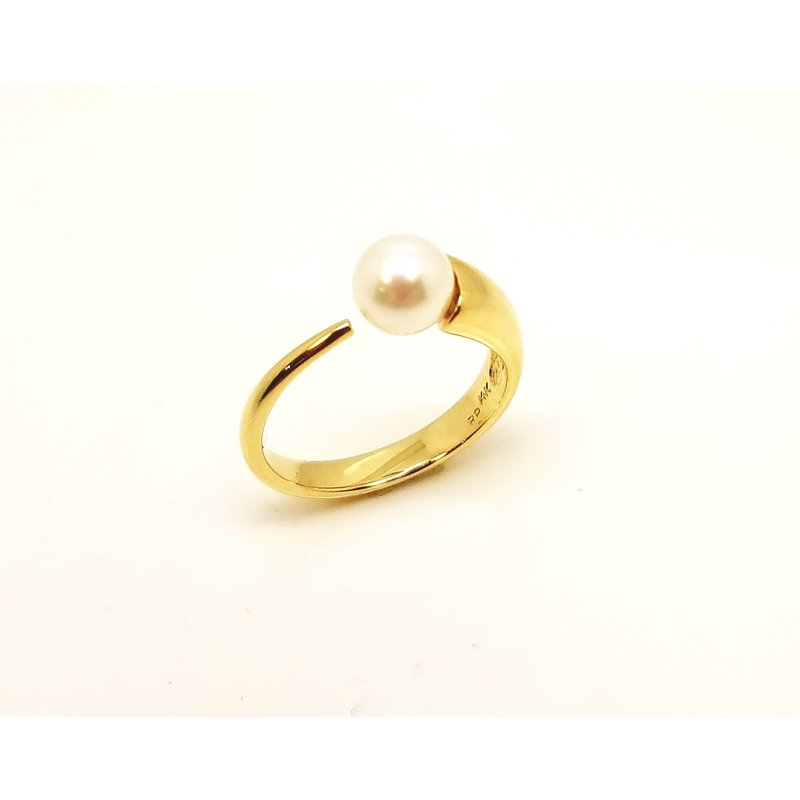 Modern Open Shank Ring with Pearl