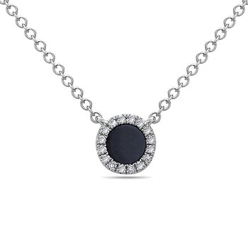 White Gold Pendant With Onyx and Diamonds