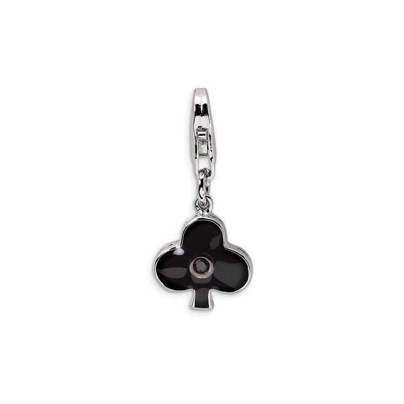 Sterling Silver Black Enamel Club Charm