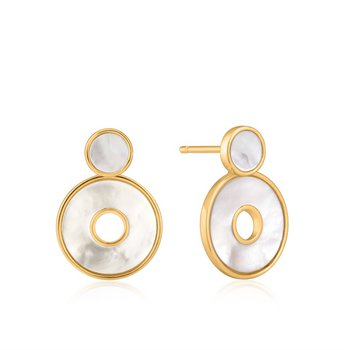Yellow Sterling Silver Hidden Gem Mother Of Pearl Disc Studs Earrings