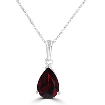 White Polished 14 Karat Pear Pendant With One 7 X 10 mm Pear Garnet