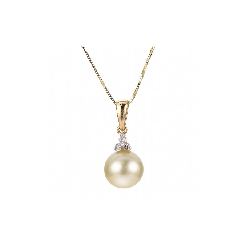 Yellow Gold 9mm Golden South Sea Pearl and Diamond Pendant