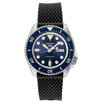 Blue and Black Stainless Steel Automatic Watch