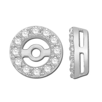 14k White Gold Diamond Halo Earring Jackets