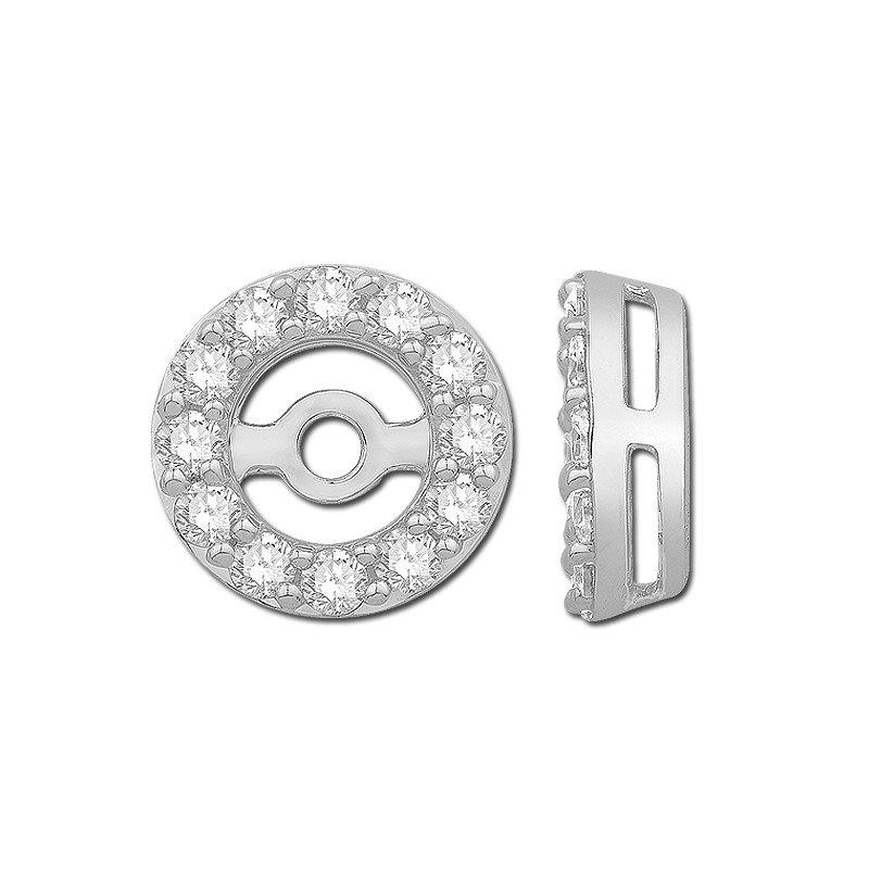 14k White Gold Diamond Halo Earring Jackets