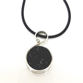 Bold Black Druzy Pendant with Single Diamond