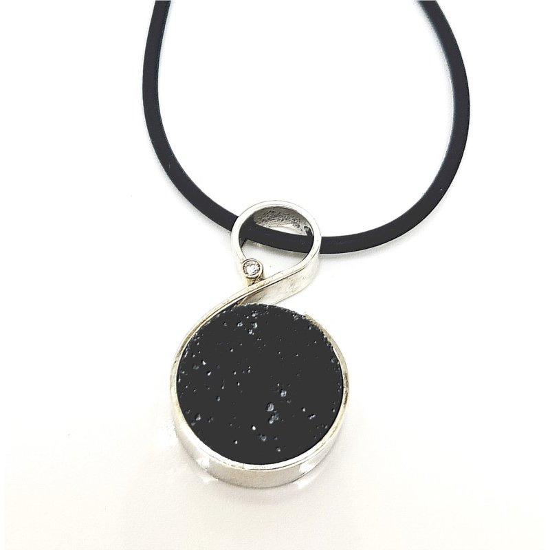 Bold Black Druzy Pendant with Single Diamond