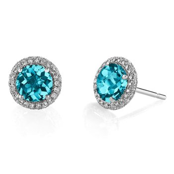 14 kt White Gold Stud Earrings With Blue Zircon and Diamond Halo