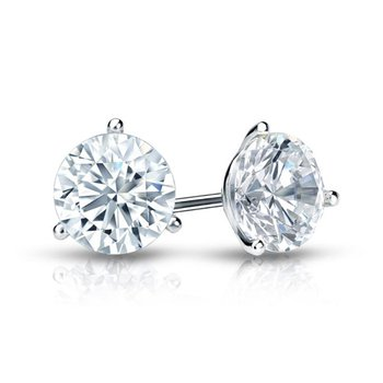 14 Karat White Gold 3 Prong Diamond Stud Earrings