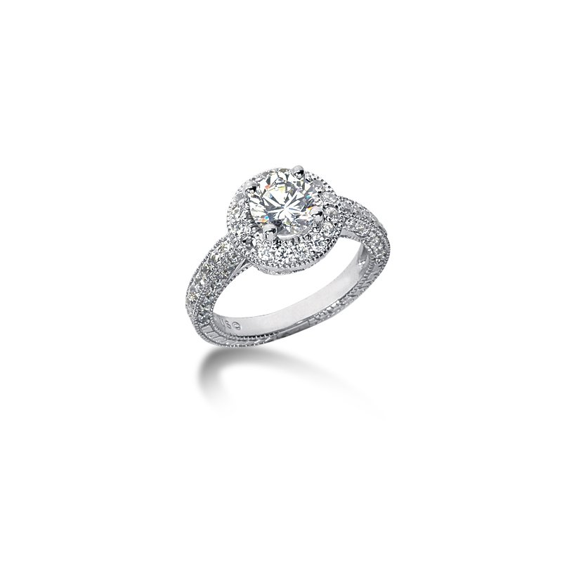 White 14 Karat Ring With 72 Round Diamonds=1.11Tw G/H Si
