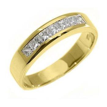 14 Kt Yellow Gold Princess cut Diamond Band