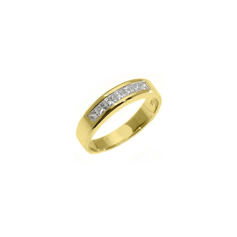 14 Kt Yellow Gold Princess cut Diamond Band