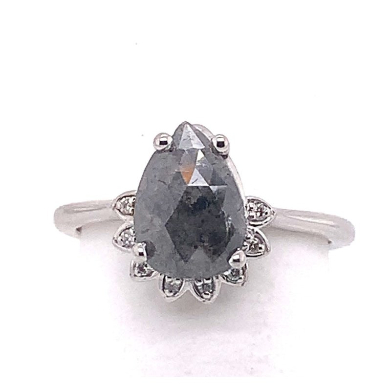 Salt and Pepper Oval Rose Cut Diamond in White Gold Ring with White Diamond Details
