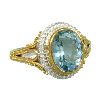 White and Yellow Vermeil Ring With Sky Blue Topaz