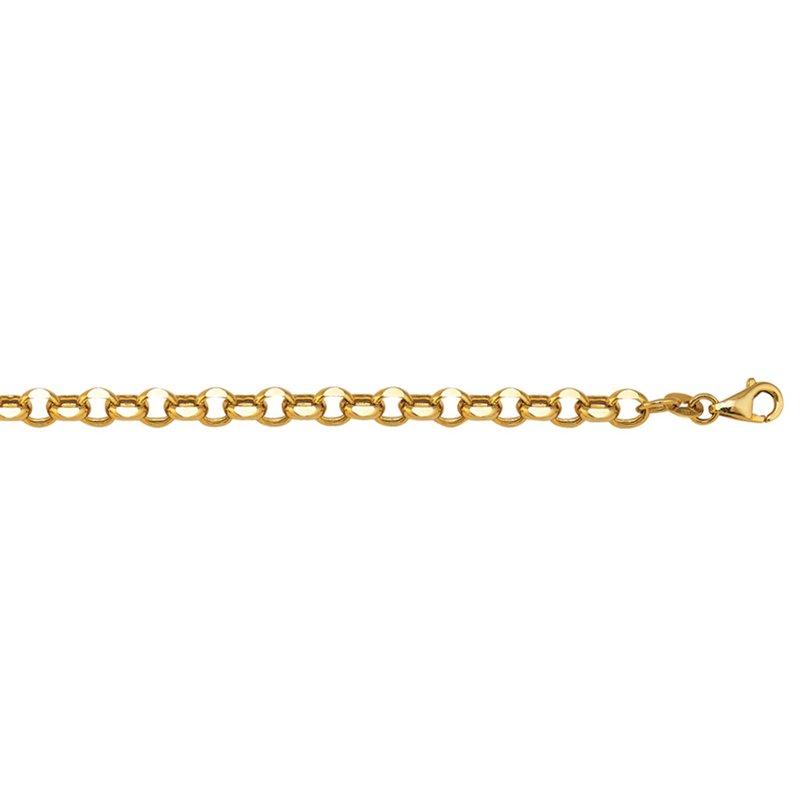 """Yellow 14 Karat Fancy Diamond Cut Rolo Bracelet, 7.5"""", 5.1 Grams"""