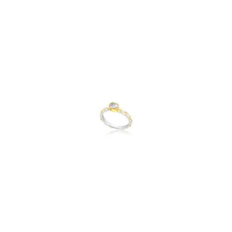 White Topaz Sterling Silver and 22 kt Gold Ring