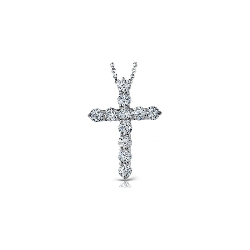 14K White Gold  Classic Diamond Cross Pendant