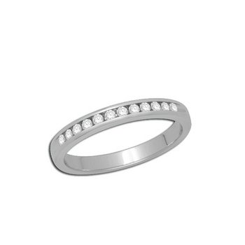 14kt Channel set White Gold Band with Diamonds