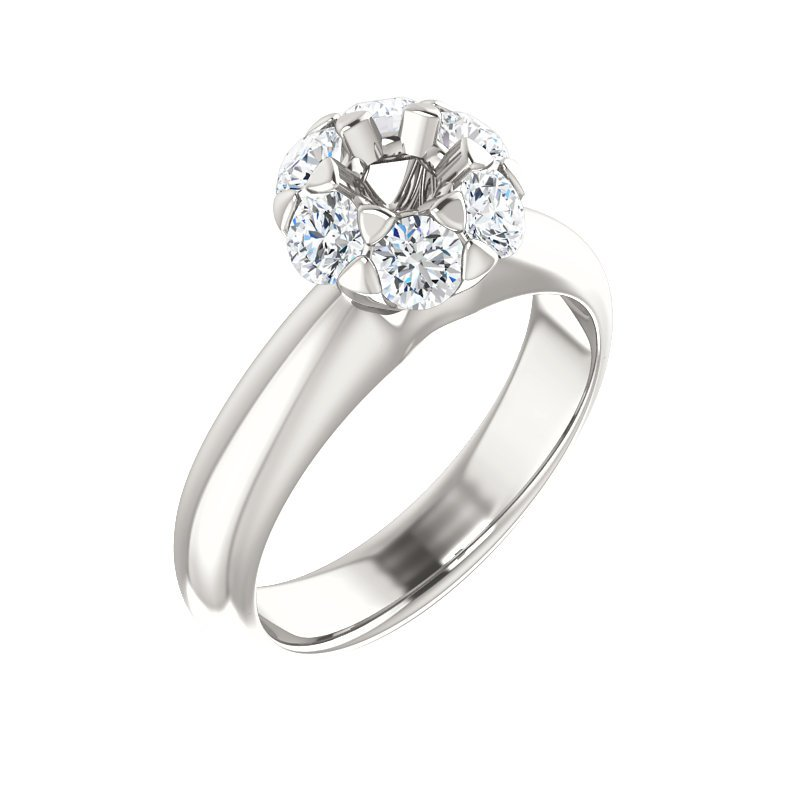 14K White 4.4Mm Round Center Cluster-Style Engagement Ring Mounting