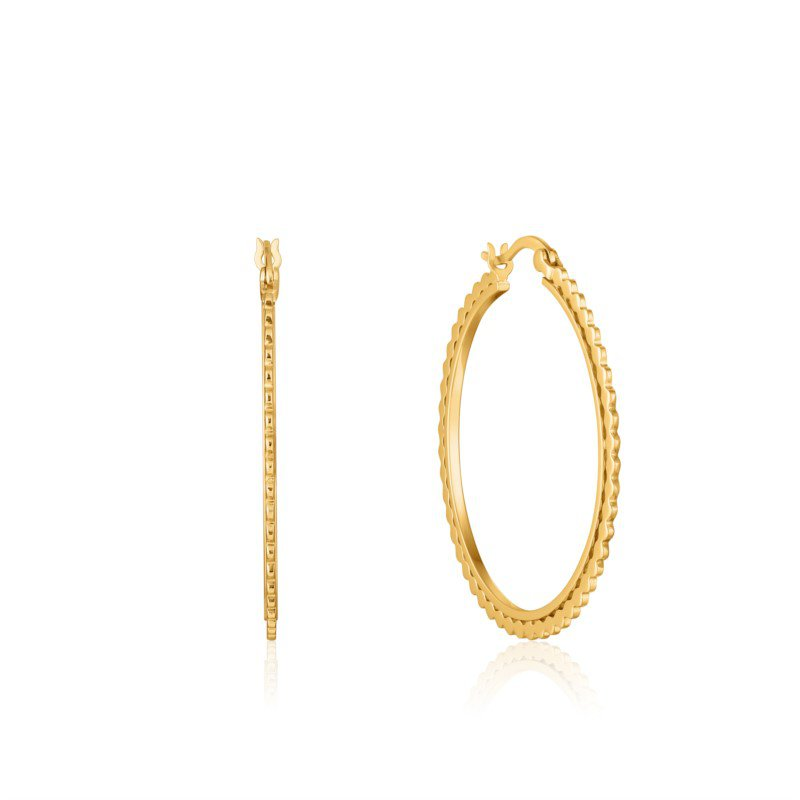 Yellow Sterling Silver Ear We Go Flat Beaded Hoops Earrings
