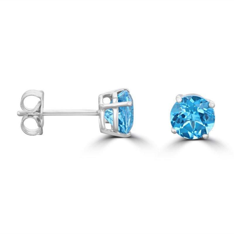 5 MM Blue Topaz Stud Earrings